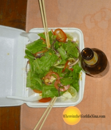 salad with chopsticks and beer....What??