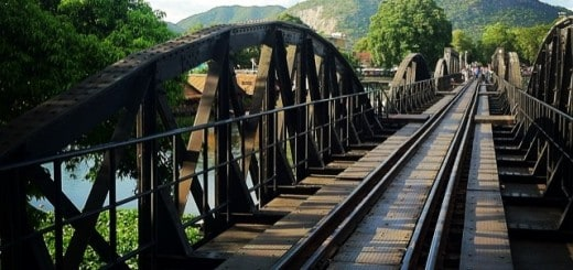 I love seeing things abroad that would be a huge no no back home in the USA... Case in point: the WWII Bridge over the River Kwai. The no no part It's still in operation today yet hoards of people are allowed to walk over it. When the train comes...move to the side.