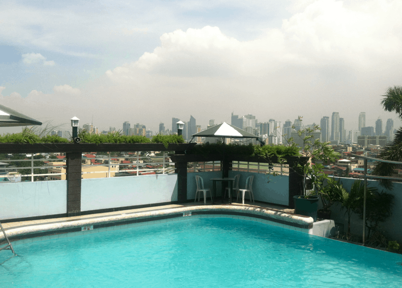 Rooftop pool in Manila