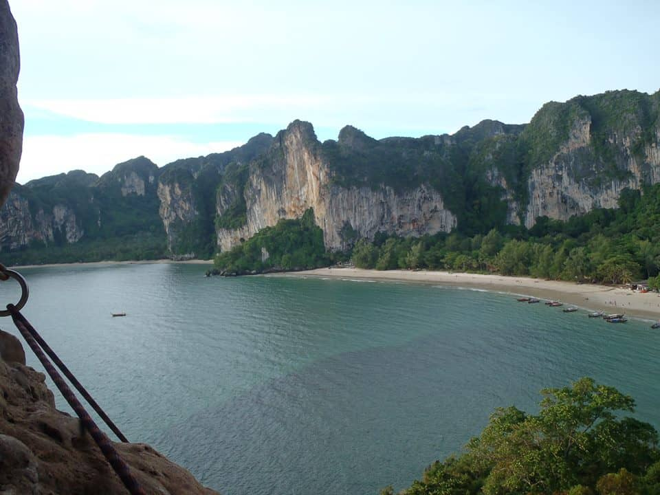 Made it to the top! An amazing view and rewarding climb. Tonsai and Railay beaches are in the distance