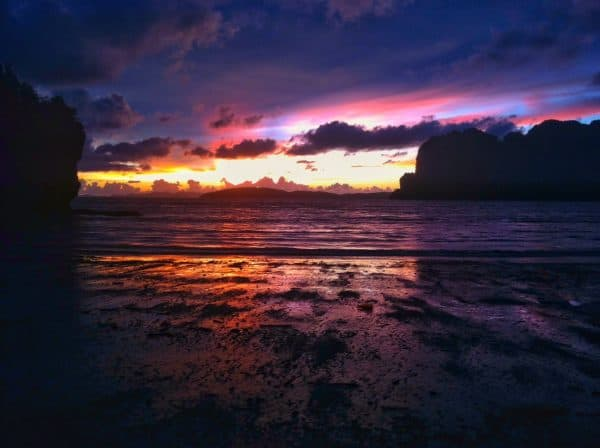 Railay Beach sunset rock climbing krabi