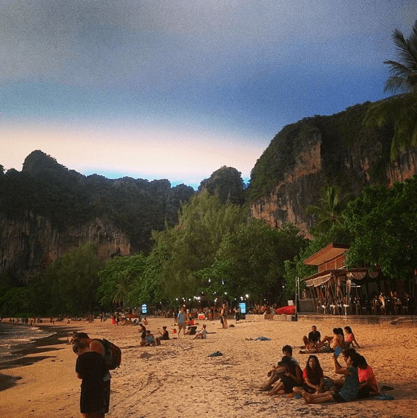 Railay beach west at sunset - Railay Beach and Tonsai Beach