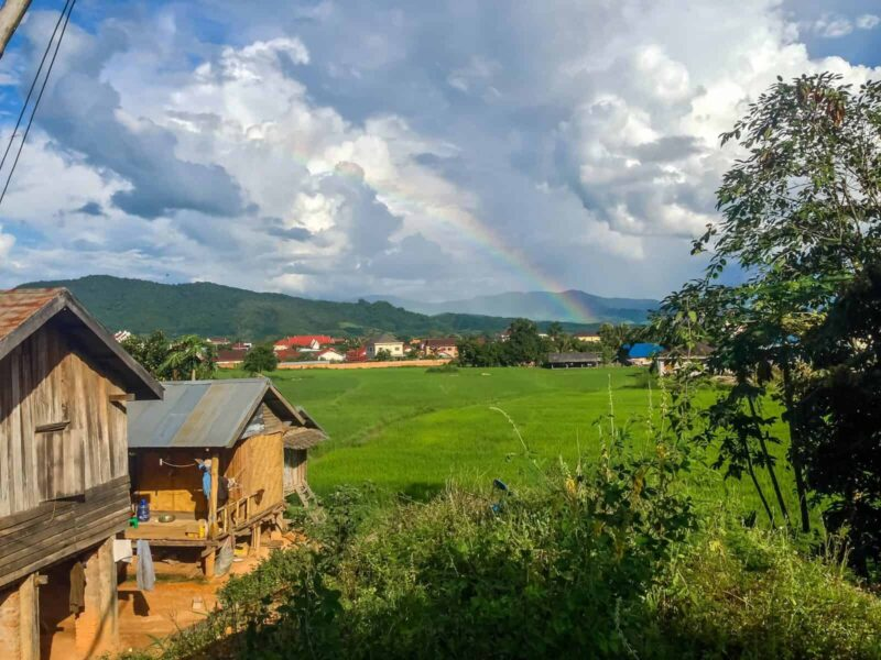 When visiting Luang Namtha, try to catch a rainbow on the hill!