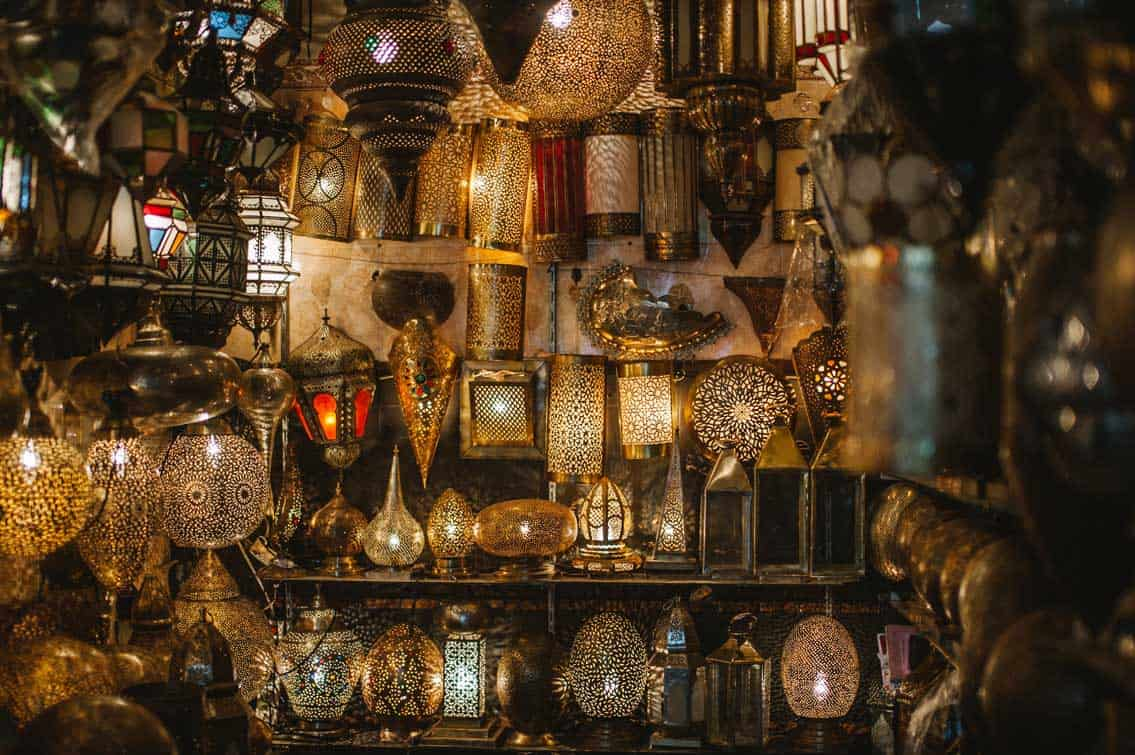 The lamp stores in Morocco are gorgeous!