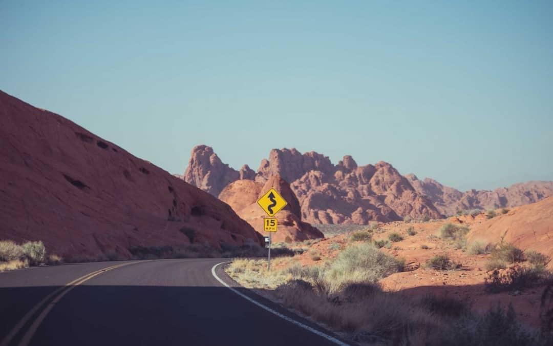 Road around red rocks.