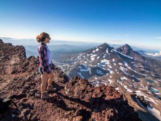 Nina at the summit after hiking south sister