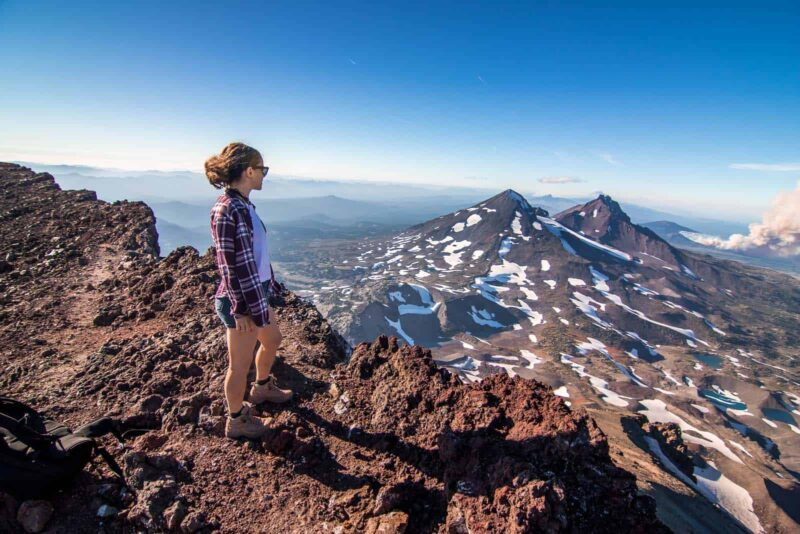 Nina at the summit after hiking south sister