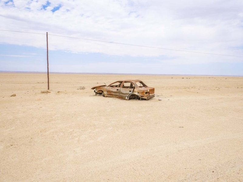 Burnt Out Car Desert in Namibia