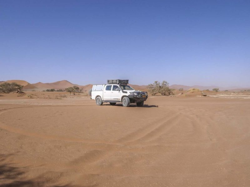 Driving through Namib Sand Desert, Sossusvlei, Namibia