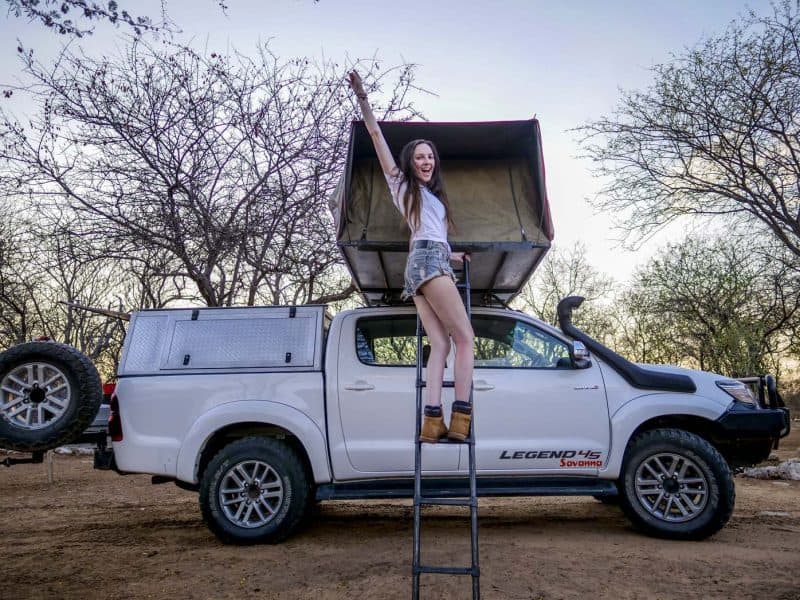Enjoying rooftop tent during my stay at Etosha national park on my 2 week Namibia trip