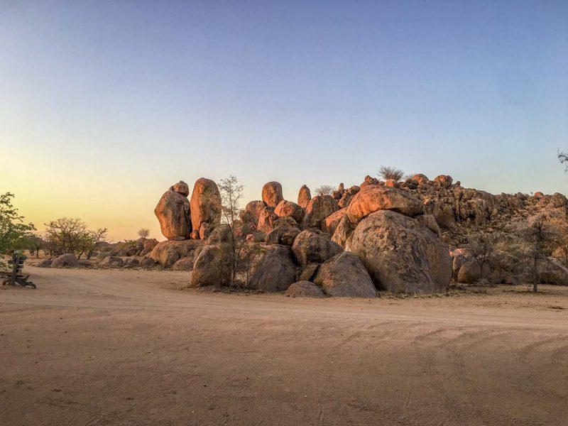 Sunset over the rocks and mountain landscape of Damaraland, Namibia