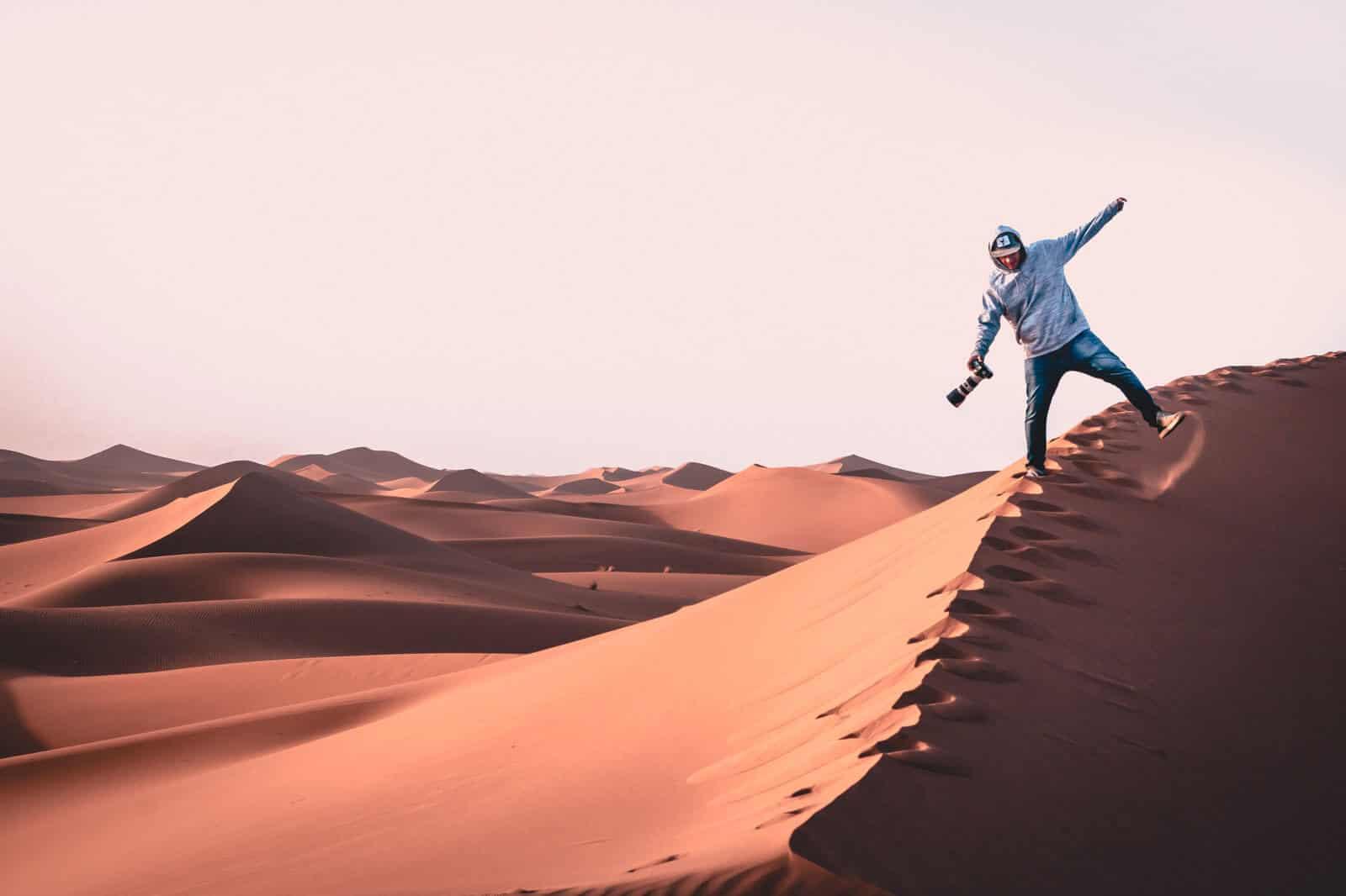 Freelance videographer in a desert
