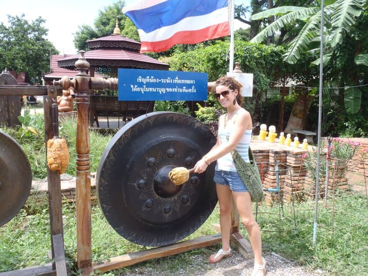 Nina hitting a gong during her first week living in Thailand