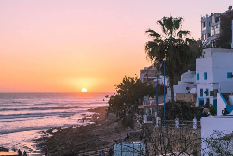 Sunset surfing in Taghazout, Morocco.