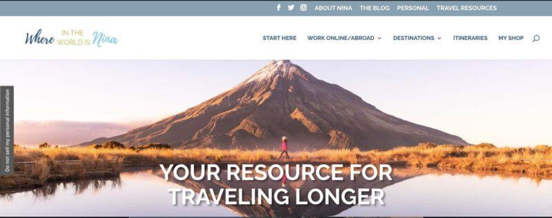 Where in the World is Nina website screenshot