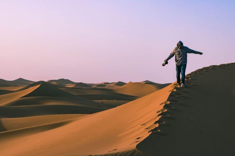 The sanddunes go on for days and days in the desert in Morocco!