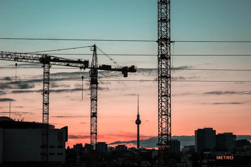 A constructions crane at sunset.
