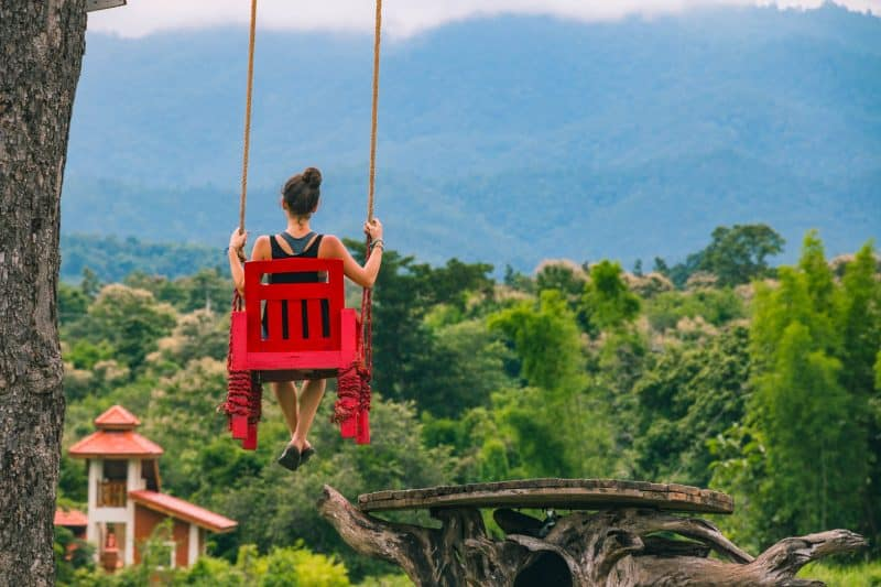 Flying red chair in Pai