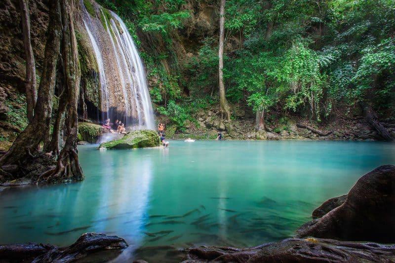 Kanchanaburi waterfall Thailand