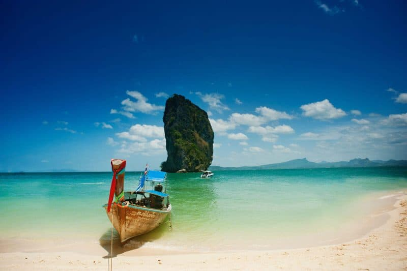ship on a beach in Krabi