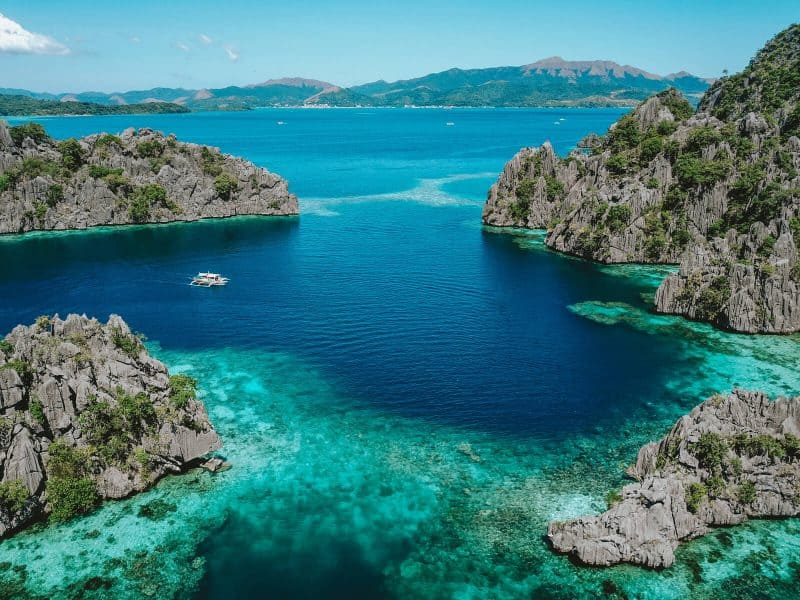 Island hopping around Coron - arial view