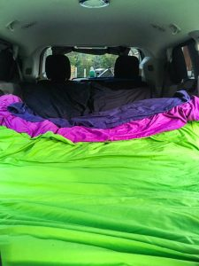 The bed i a JUCY campervan through the USA