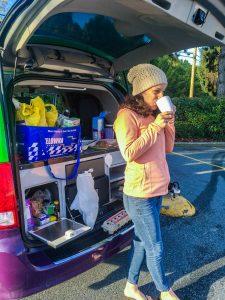 Drinking coffee in my JUCY van