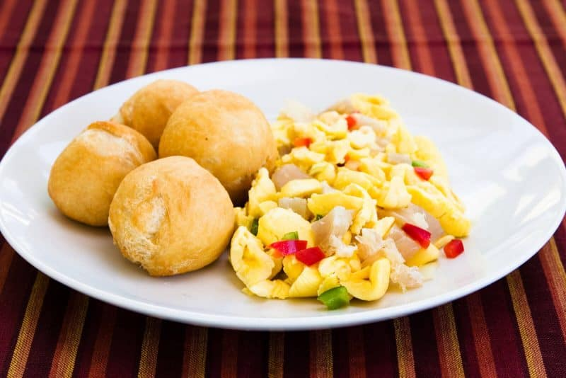 Ackee and saltfish Jamaica dish