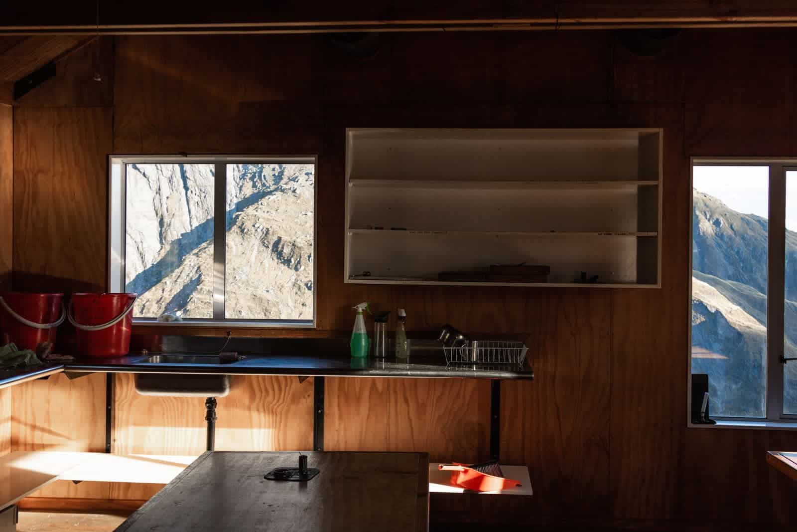 French ridge hut kitchen