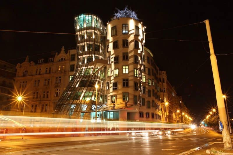 Dancing House at night, Prague