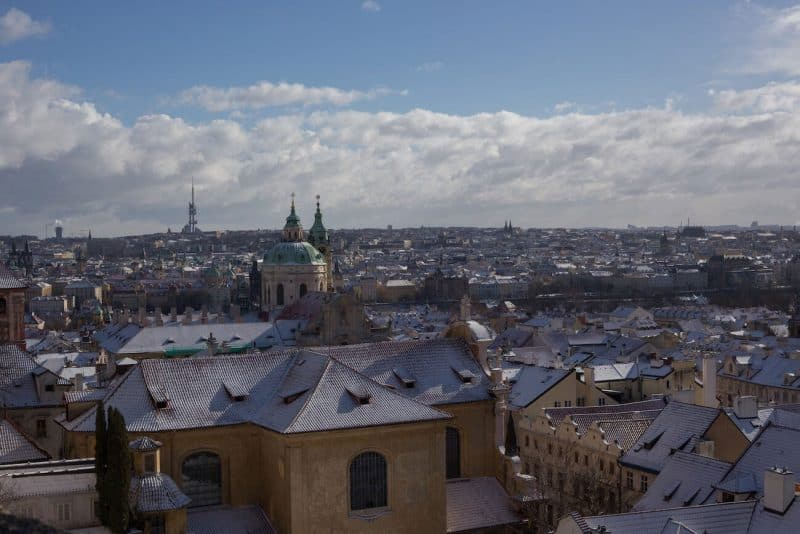 View of Prague from castle square winter