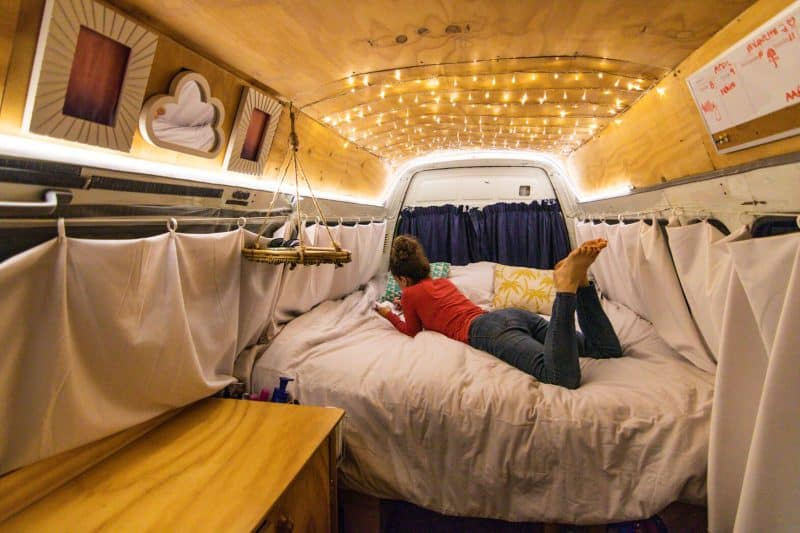 Campervanning New Zealand inside bed
