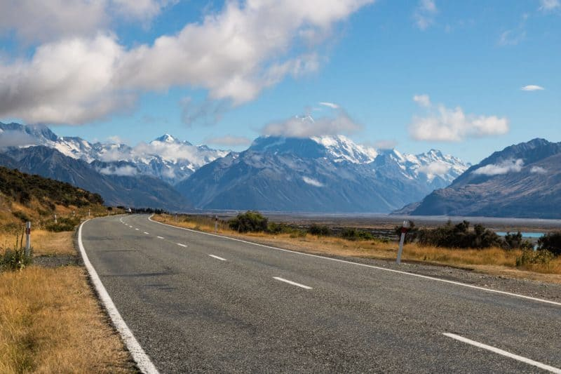 Driving around Mount Cook New Zealand