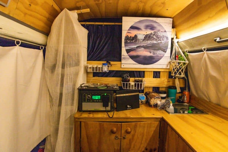 Inside of our campervan in New Zealand