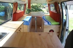 Our campervan in New Zealand before we redid it.