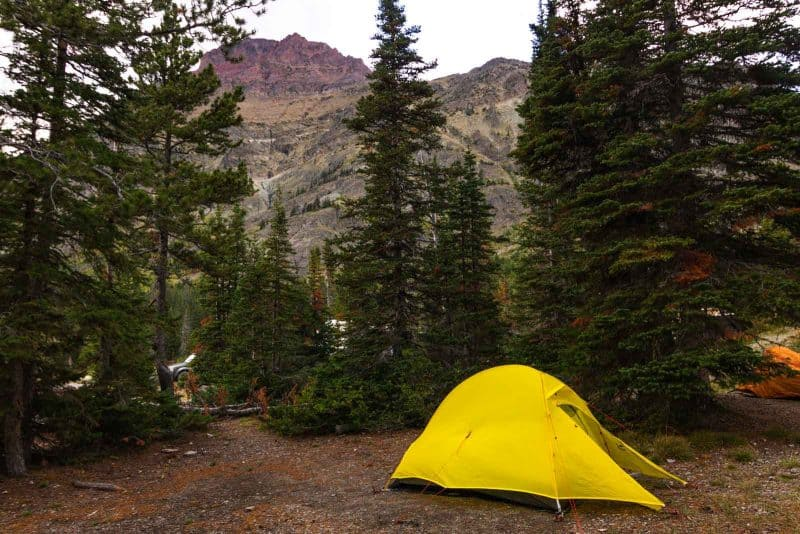 Cozy area of the Two Medicine Lake Campgrounds