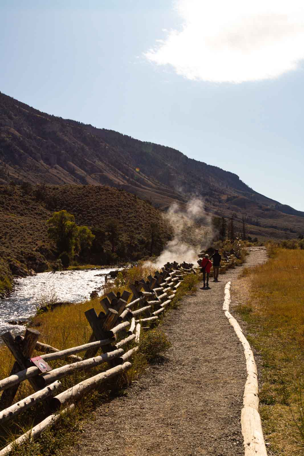 A view of Boiling River Trail is a must see on your Yellowstone itinerary