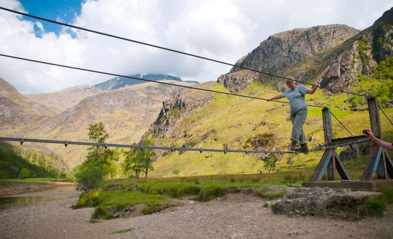 Photo of the rope bridge in Glen Nevis during Scotland road trip