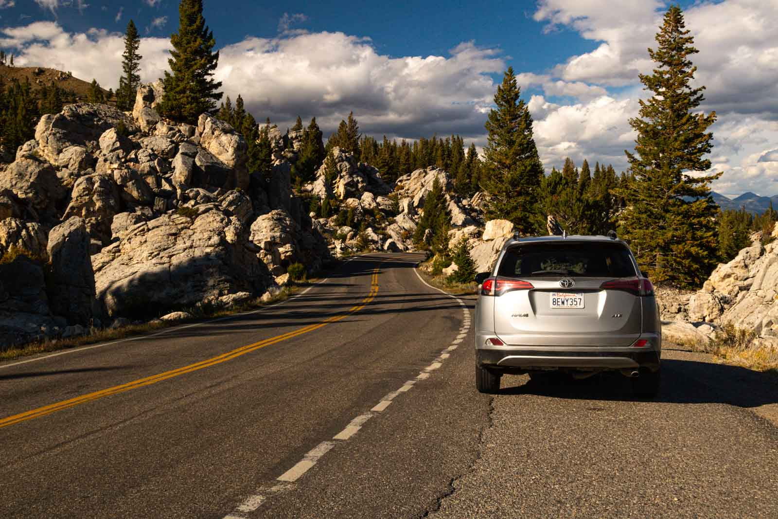 Things to do in Yellowstone include pulling your car over on the side of the road to admire the scenery