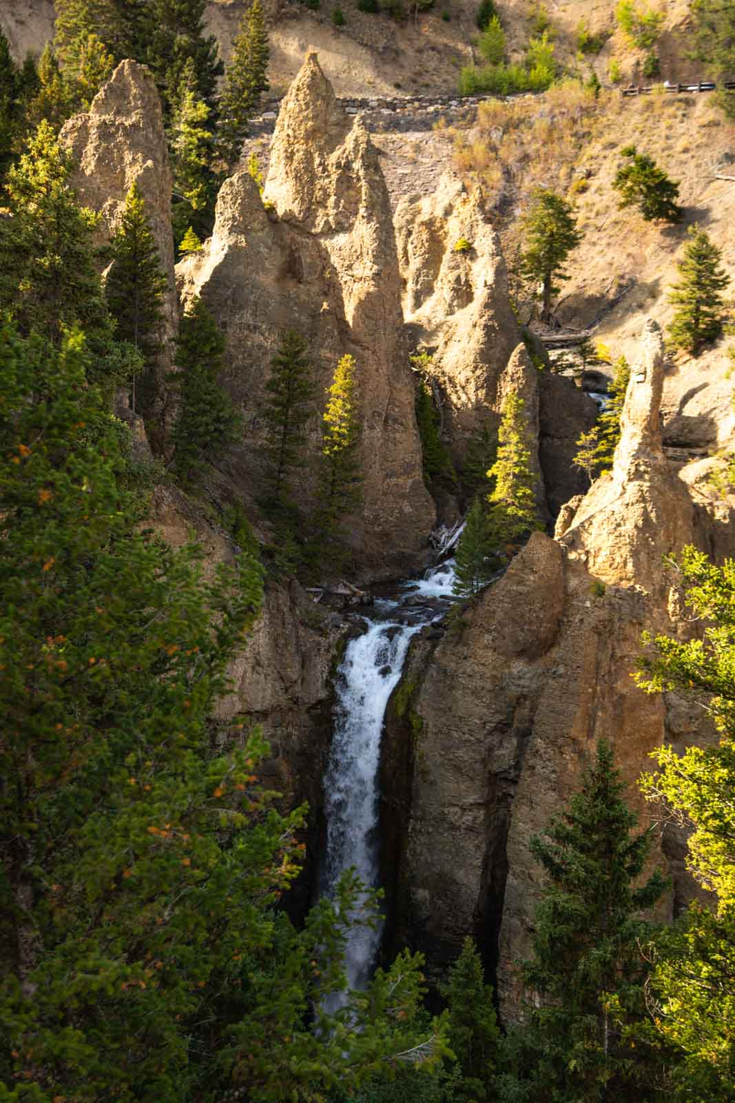 A view of Tower Fall which is a must for any Yellowstone Itinerary