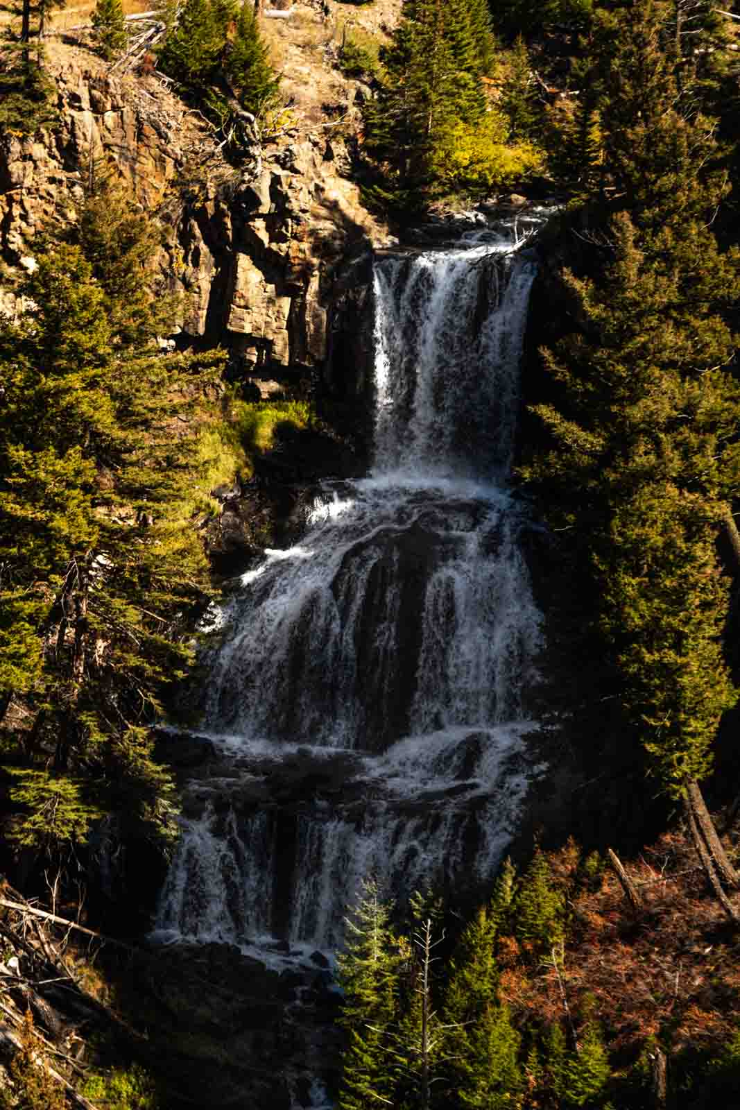 A view of Undine Falls for a Yellowstone Itinerary