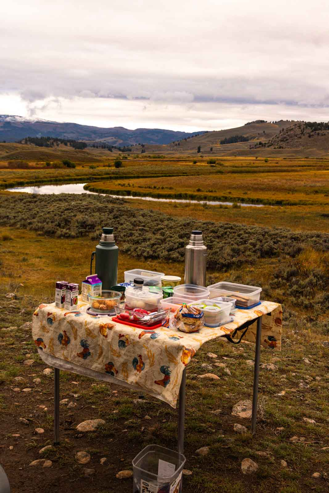 A view of our breakfast on a Wolf Tracker Tour is a must do on your Yellowstone Itinerary