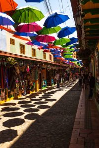 We stopped at Guatape Street on our Medellin tour.