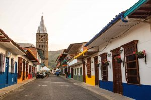 A colorful street in Jardin, Colombia.