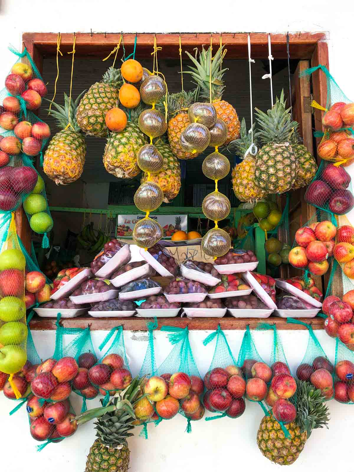 A display of fruits in Jardin, Colombia.