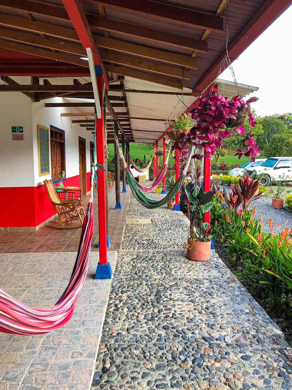 Hammocks at Casabella Lodge in Jardin, Colombia.