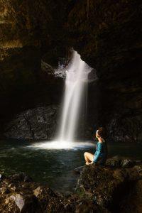 A waterfall in La Cueva del Esplendor.