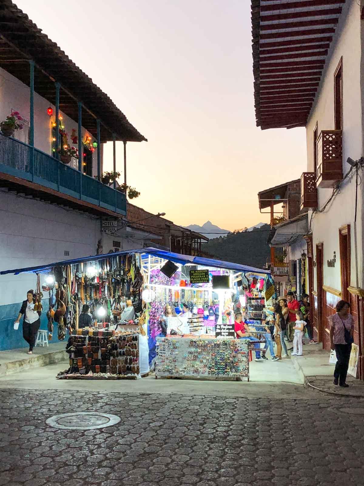 A street market in Jardin, Colombia.
