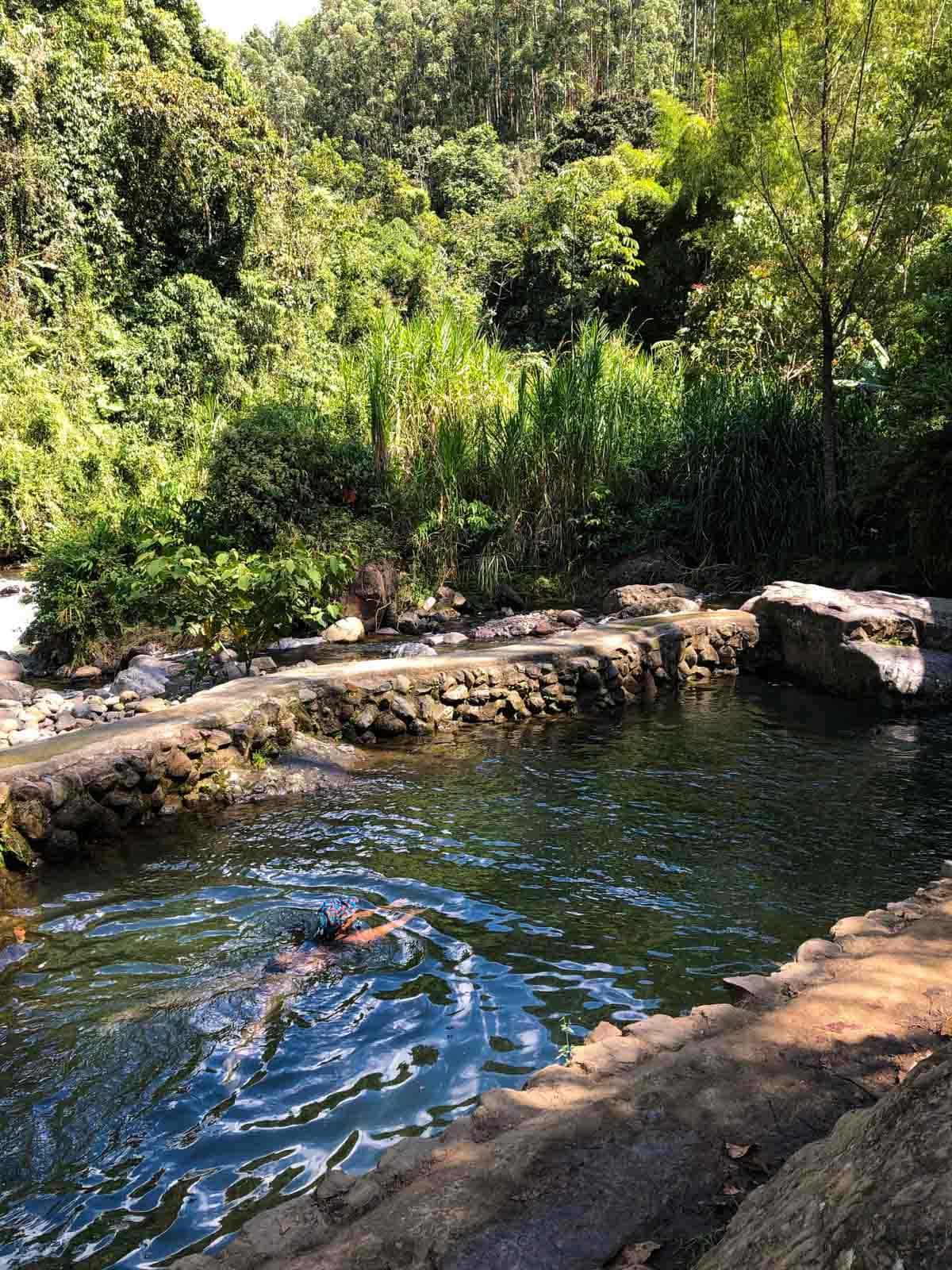 Locals swimming in Jardin, Colombia.