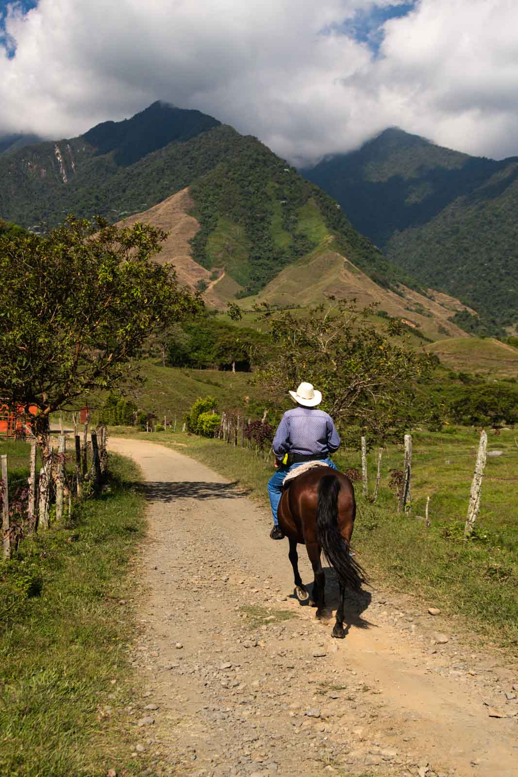 A cowboy riding a horse in Jardin, Colombia.